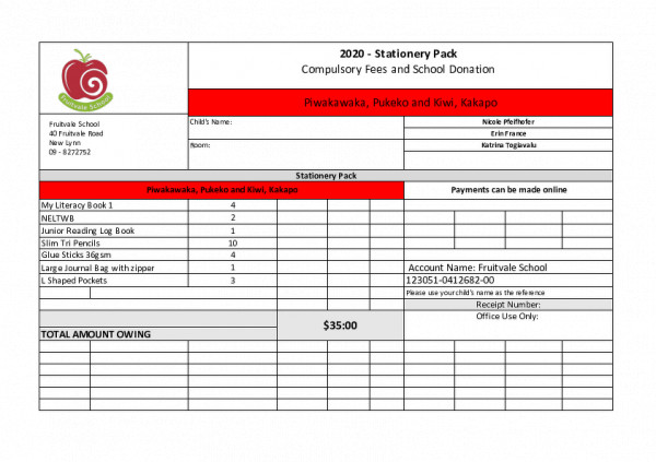 2020 Stationery Lists